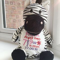 Personalised Zebra  Cubbie Teddy